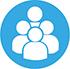 Logo groupe blanc sur fond bleu